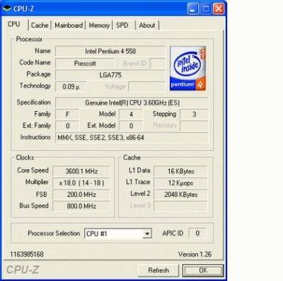 Dane technincze procesora P4 660