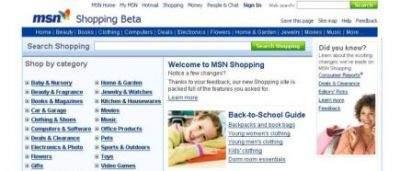 Nowa strona MSN Shopping.