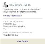 Podgląd certyfikatów dla witryny