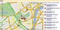 Okolice pałacu Buckingham – mapa drogowa