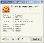 Okno informacji pokazuje również adres IP