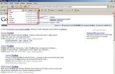 Google Toolbar - funkcja Google Suggest