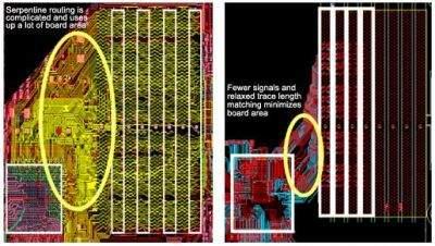 Po lewej zwykłe układy R-DIMM, po prawej - FB-DIMM (źródło: Intel)