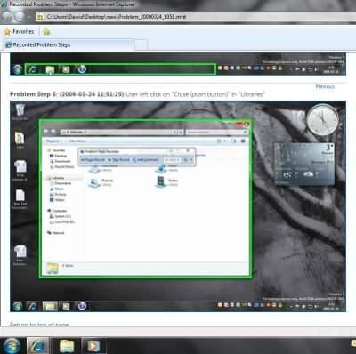 Zawartość odczytana z czarnej skrzynki Windows 7