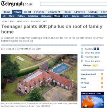 Narysował na dachu penisa, aby wyróżnić dom w Google Earth