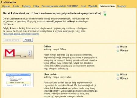 Usługa Gmail Labs dostępna w polskiej wersji językowej