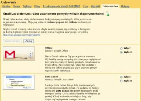 W celu uzyskania dostępu do dodatków z Gmail Labs nie trzeba już zmieniać wersji językowej na angielską