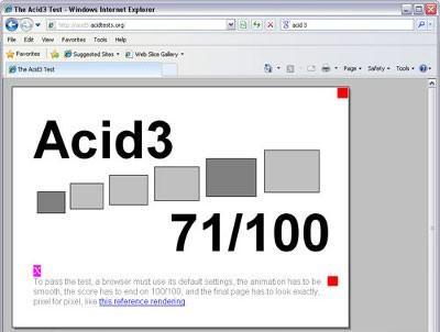 Bradzo dobry wynik IE 8.1 w teście Acid3