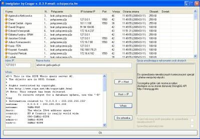 Inwigilator umożliwi ci zbadanie, z jakich adresów IP korzystają twoi znajomi. Nie zawsze mu się jednak udaje – czasem podawany jest adres localhost (127.0.0.1).