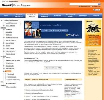 Windows 7 RC na stronie dla partnerów Microsoftu