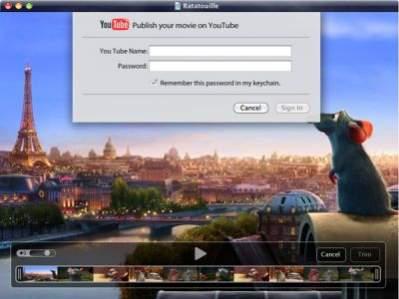 QuickTime X z obsługą YouTube. Źródło: appleinsider.co
