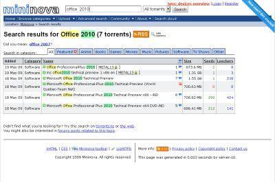 Office 2010 Technical Preview można pobrać z Mininova.org