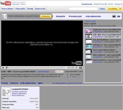 Filmy ze Snow Leopardem w YouTube