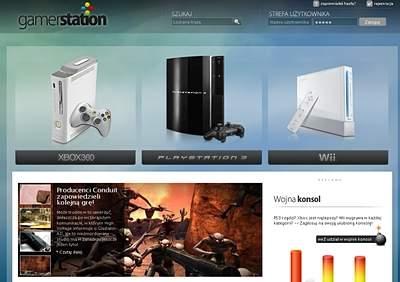 GamerStation.pl - warto zwrócić uwagę na animowane menu wyboru platformy na stronie głównej