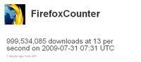 Okno przedstawiające ilość pobrań przeglądarki Firefox