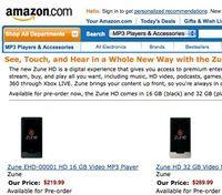 Ceny Zune HD według Amazona