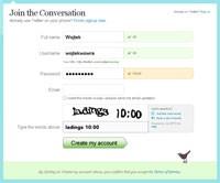 Nowy użytkownik Twittera musi jedynie wypełnić prosty formularz rejestracyjny