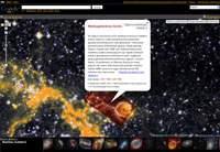 """Google Sky - zdjęcie ze zbioru """"Skarbiec Hubble'a"""" wraz z dymkiem informacyjnym."""