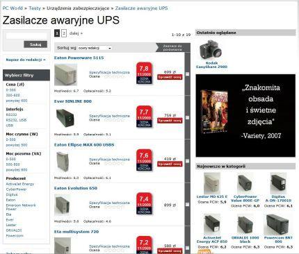PC World Testy - nowy ranking UPS-ów (zasilacze awaryjne)