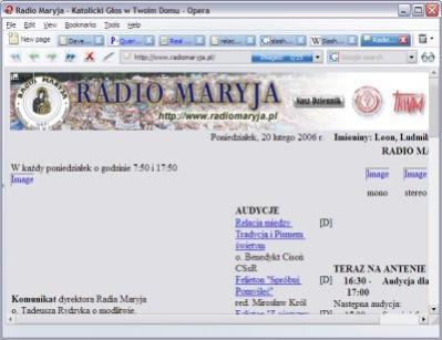 Witryna Radia Maryja po około trzech minutach oczekiwania
