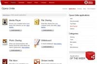 Katalog dostępnych aplikacji dla Opery Unite zawiera wiele aplikacji do pracy grupowej.