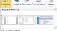 Funkcja zrzutu ekranu wykryła trzy otwarte okna. Wystarczy kliknąć jedną z miniatur, aby obrazek znalazł się w dokumencie.