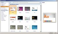 PowerPoint zapewnia galerię gotowych motywów. Wystarczy jedno kliknięcie, aby obrać stonowaną szatę kolorystyczną i pasujące czcionki.