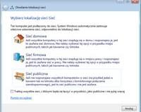 Wybór lokalizacji konfiguruje poziom zabezpieczeń komunikacji sieciowej oraz ustawia parametry zapory systemu Windows.