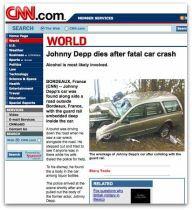 Fałszywa strona CNN z informacją o śmierci Johnny'ego Deppa