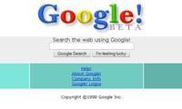 """Strona główna Google z 1998 roku. Widać na niej stare logo wyszukiwarki oraz napis """"BETA"""", charakterystyczny dla wielu późniejszych usług Google."""