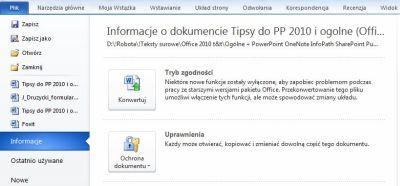 Po zaznaczeniu jednej opcji, lista ostatnio otwieranych dokumentów pojawia się w menu aplikacji