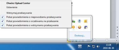 Możesz wyłączyć wyświetlanie ikony Upload Center bądź zablokować program całkowicie