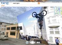 Należący do Microsoftu serwis Bing Maps oferuje kilka ciekawych funkcji, których brak w Mapach Google'a. Wśród nich jest odpowiednik trybu Street View z możliwością nakładania na obraz zdjęć okolicy zrobionych przez internautów.