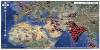 Mapa aktywności robaka Stuxnet w trzecim kwartale 2010 r. Wyraźnie widać wzmożoną aktywność na terenie Iranu. Źródło: McAfee.