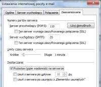 MS Oultook – konfiguracja kopii wiadomości na serwerze