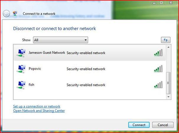 Okno wyobru sieci w systemie Windows Vista