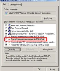 Właściwości sieci - w górnej części okna figuruje nazwa sprzętu odpowiadającego za połączenia sieciowe, w dolnej zaś m.in. stosowane protokoły.