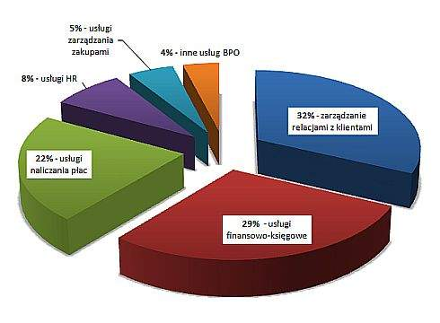 Udział poszczególnych segmentów w rynku BPO w Polsce