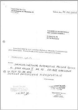 """Oświadczenie o nieodpłatnym zrzeczeniu się praw i obowiązków do domeny """"mercedes.com.pl""""  na rzecz DimlerChrysler z czerwca 2001 roku"""