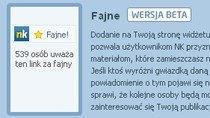 """""""Fajne!"""" to prawdziwy test dla NK.pl - sukces zależy od właścicieli stron, ale zwłaszcza od aktywności """"klikaczy""""."""