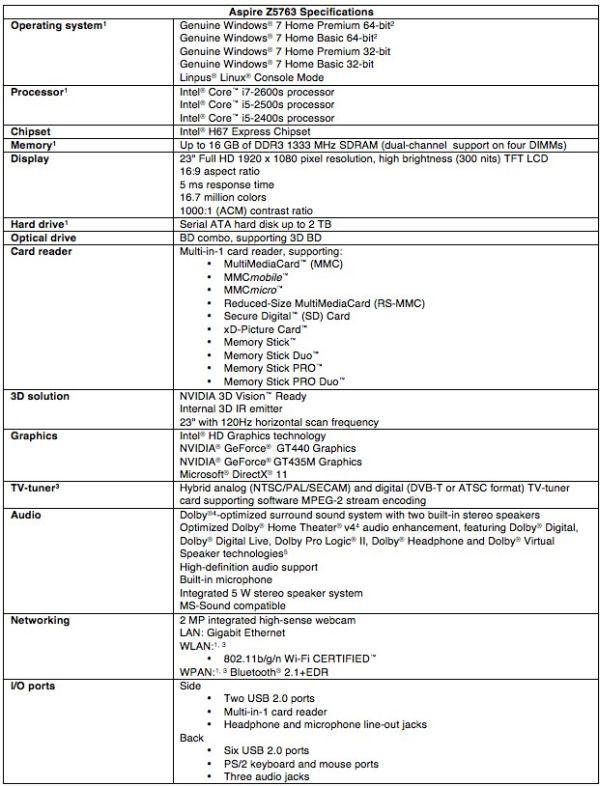 Acer Z5763 specyfikacja 1