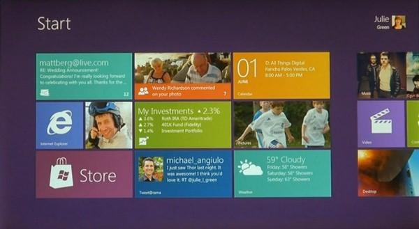 Windows 8: ekran startowy (źródło: Microsoft).