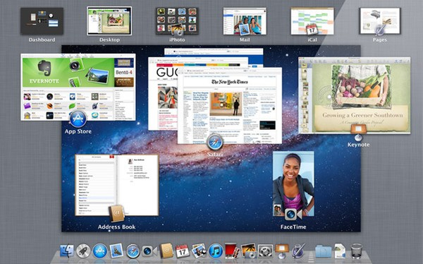 Mac OS X Lion: funkcja Mission Control (źrodło: Apple).