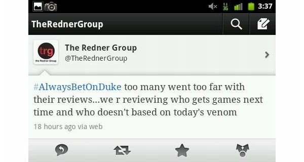 Wpis Rednera na Twitterze