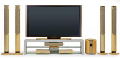 Zestaw z telewizorem plazmowym LG MW-71PY10 pokrytym 24-karatowym złotem