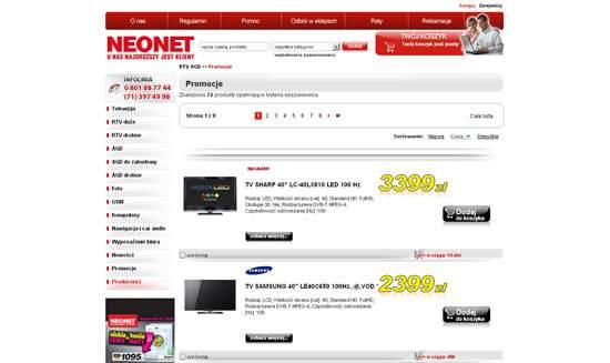 Podstrona z promocyjną ofertą sieci Neonet