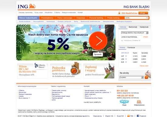 Strona internetowa ING Banku Śląskiego