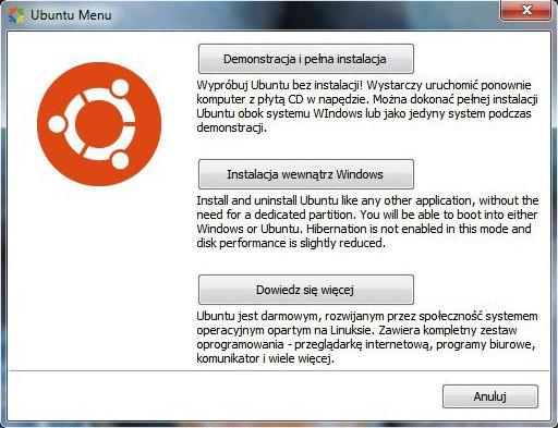 Opcje instalacji Ubuntu z nośnika Live CD