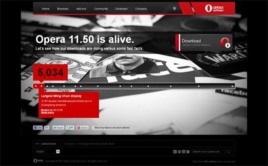 Na stronie opera.com można sprawdzić, ile osób pobrało już przeglądarkę Opera 11.50