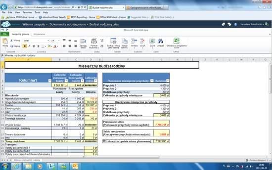 Excel Web App w pakiecie biurowym Office 365.